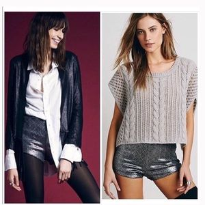 Free People High Rise Sequin Shorts in Pewter L